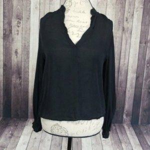Aaron Ashe black silk sheer long sleeve blouse